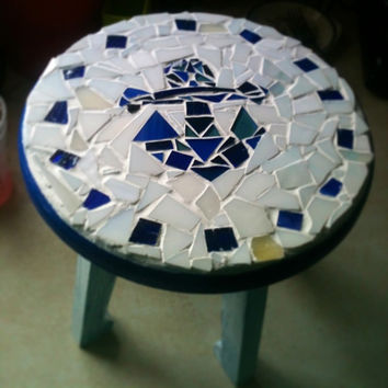 Nautical Mosaic Anchor and  Blue Glass Foot Stool or Step Stool