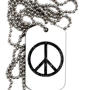 Peace Sign Symbol - Distressed Adult Dog Tag Chain Necklace