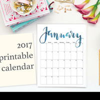 "2017 Printable Calendar, Calligraphy, Editable, Letter Size 8.5"" x 11"" Instant Download, Portrait, Wall"