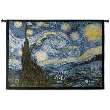 Van Gogh Starry Night Blue Yellow Painting as Woven Wall Hanging Museum Tapestry 40x53