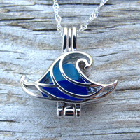 Wave of Life™ Mixed Sea Glass  Caribbean Blue Cobalt Sterling Silver Locket Necklace Summer Style Boho Beach by Wave of Life™