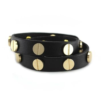 Gold Studded Black Leather Double Wrap Bracelet
