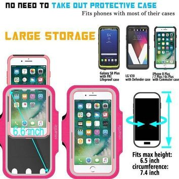 Sport Armband Water Resistant Running Case Iphone 8 Plus 7 Plus 6s Plus 6 Plus Samsung Galaxy Lg Moto With Case (lifeproof/others) Fitness Gym Workout Case Key/card Holder Cable Locker [pink]