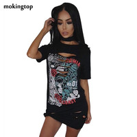 mokingtop Casual Dress Rock Gothic Printed Short Sleeve Holes Women Dresses Short Sleeve Mini Dress Vestidos#1521