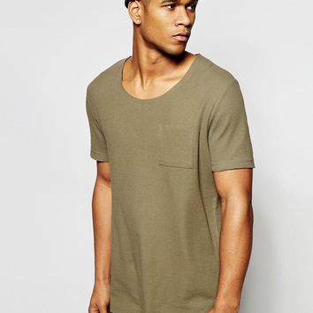 ASOS | ASOS Super Longline T-Shirt In Waffle With Scoop Back Hem And Scoop Neck In Khaki at ASOS