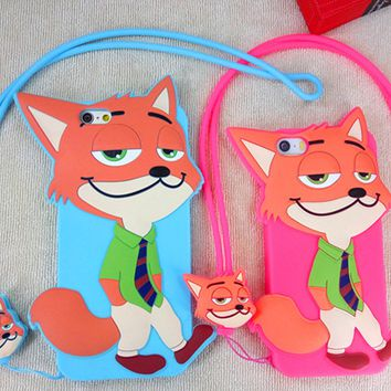 Zootopia Cute Nick  Silicon Shockproof  Iphone 5se 6 6s plus  Case  with Rope