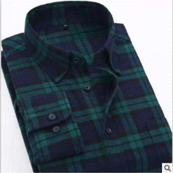 Plaid Long-sleeved Casual Shirts Flannel Slim Fit Spring Male Business Fashion