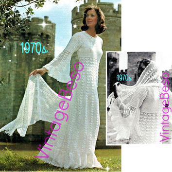 2  Fairy Tale Angel Wing Juliet Style Wedding Dress Crochet Pattern Sweeping Medieval Wedding Dress Stole Wrap 1970s Instant Download PDF