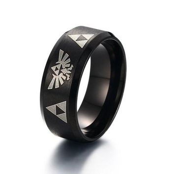 Men's Legend of Zelda Triforce Costume Ring in Blue for Men Stainless Steel Wedding Band Laser Engraved Male Jewelry