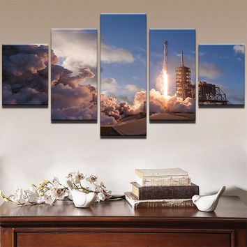Modern HD Printed Oil Painting Canvas Home Decor 5 Panels Flame Emission Landscape Poster Frame Modular Wall Art Pictures PENGDA