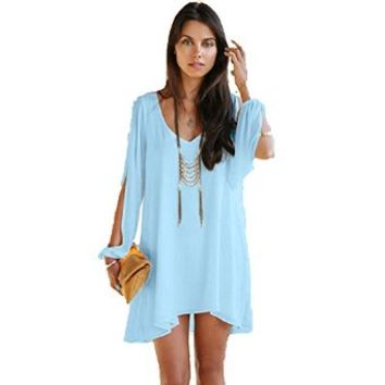 Women's V-neck Summer Casual Party Evening Cocktail Short Beach Mini Dress Skyblue