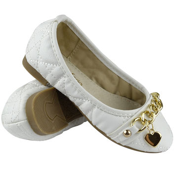 Kids Ballet Flats Quilted Gold Heart Accent Casual Slip On Shoes White SZ