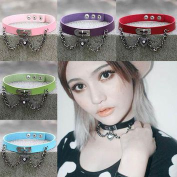 ac NOOW2 Fine quality Punk Collar Choker Necklace Harajuku PU Leather Choker Punk Goth 100% Handmade Neck Jewelry
