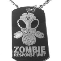 Zombie Response Team Unit Alien Face Gas Mask Biohazard Logo Symbol - Military Dog Tag, Luggage Tag Metal Chain Necklace