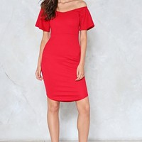 Dial It Down Off-the-Shoulder Dress