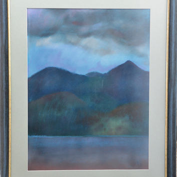 art original,original painting,landscape,pastel,paper,Before the storm ,  ready to hang