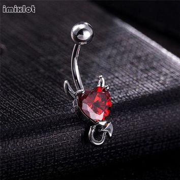 ac PEAPO2Q 1 Piece 316L Stainless Garnet Heart Zircon Crystal Devil Belly Button Ring Navel Piercing Nombril Ombligo Body Jewelry 14g