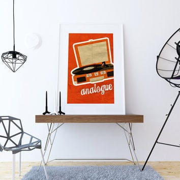 Turntable Record Player Retro art print Illustration Art Print Giclee on Cotton Canvas and Paper Canvas Poster Wall Decor