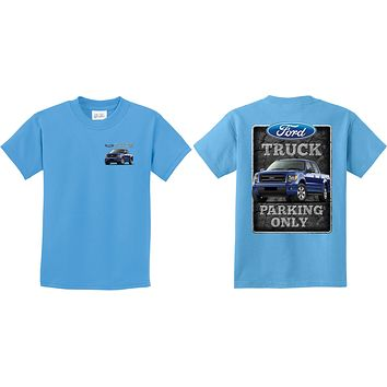 Kids Ford Truck T-shirt Parking Sign Front and Back