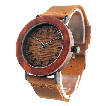 Women's Red Wooden Watches with Genuine Leather Strap