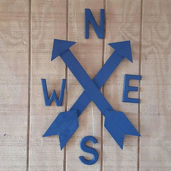 Compass, arrow compass rose, wood compass, woodland nursery decor, boy nursery, adventure nursery, cabin, hunting, Indian decor, arrow decor