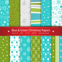 Christmas Digital Paper: Blue & Green Christmas Papers Instant Download Printable Scrapbooking Collection -Snowflakes Stars Stockings