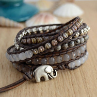 Silver grey wrap bracelet. Long beaded bracelet. Grey stone jewelry