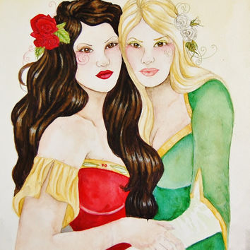 Snow White and Rose Red: fairytale ooak watercolor wall art painting story german children red green christmas roses women blonde brunette