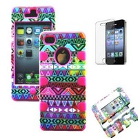 Heavy Duty 3 In1 Hybrid Impact Aztec Tribal Pattern Pink Silicone Case Cover for Iphone 4 4S + Screen Protector