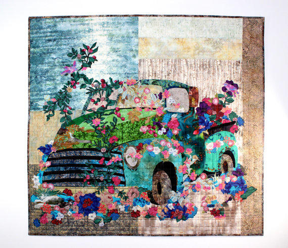 Old Truck Art Quilt Flowers Over Grown From Sallymanke