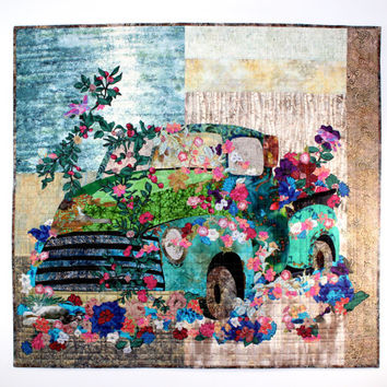Old Truck Art Quilt - Flowers Over Grown -  Quilted Wall Hanging - Vintage Vehicle