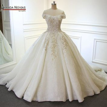 Amanda Novias Off Shoulder Sleeves Lace Applique Patterns Pearls Shiny Luxury Long Train Wedding Dress