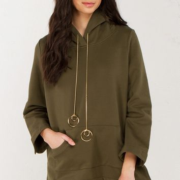 Hooded Sweater Dress in Olive and Black