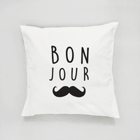 Bon Jour Pillow, Typography Pillow, French Decor, Cushion Cover, Throw Pillow, Bedroom Decor, Bed Pillow, Decorative Pillow, Kids Room Decor