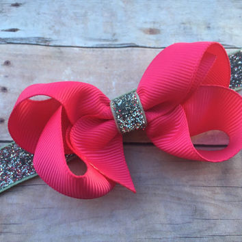 Hot pink silver boutique bow headband - hot pink baby headband, pink & silver headband, silver headband, Valentine's Day headband