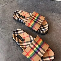 BURBERRY Rainbow Vintage Check Slides