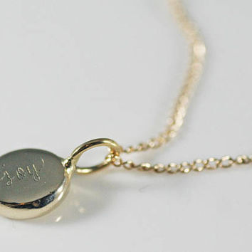 Joy Necklace, Delicate Solid Gold Necklace, 14k Gold Disc Necklace, solid 14k gold necklace, secret message necklace, cursive necklace