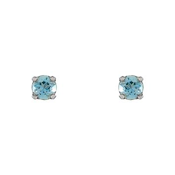 Kids 3mm Aquamarine Youth Threaded Post Earrings in 14k White Gold