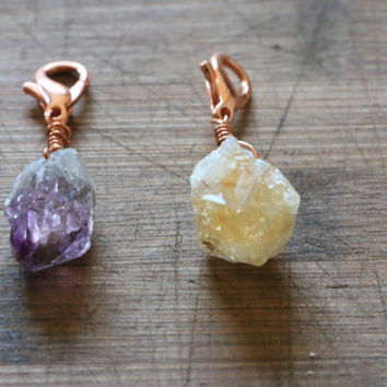 Raw Amethyst or Citrine and Copper Keychain