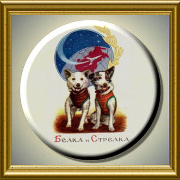 """BELKA and STRELKA Russian Space Dogs Astronauts 2.25"""" large Round Fridge Magnet"""