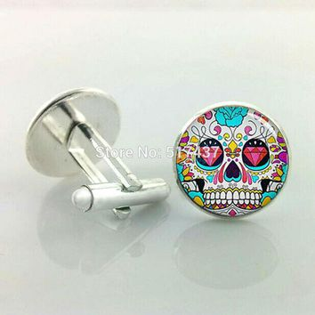 Sugar Skull Cufflinks Rose Hipster Skull Cuff Links Men Cufflinks High Quality Brand