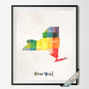 New York, Map, Print, NY, USA, Poster, Watercolor, Painting, Home Town, Big Apple, Decor, Dorm Room, Art, States, Watercolour [NO 32]