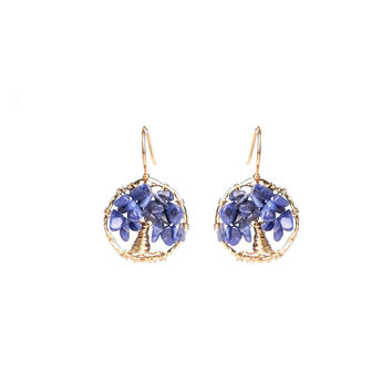 Blue Lapis Tree Of Life Earrings