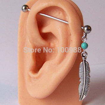 PE0017 free shipping 10pc/lot best selling body jewelry industrial bar turquoise stone feather piercing earrings