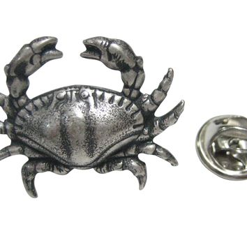 Silver Toned Sleek Crab Lapel Pin