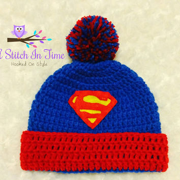 Superman Crochet Beanie/Hat with Trim and Pompom PDF Pattern Newborn-Adult Sizes