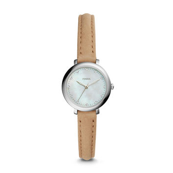 Jacqueline Mini Three-Hand Light Brown Leather Watch - $105.00