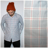 Vintage Men's PLAID Shirt, GRUNGE Button-up OVERSIZED Collar Red, White, Blue Long Sleeve Top