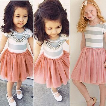 New Girls Dresses Fashion Patchwork Kids Princess Flower Tutu Party Cute Formal Striped Ball Dress Clothing For 2 4 6 8 10 Years