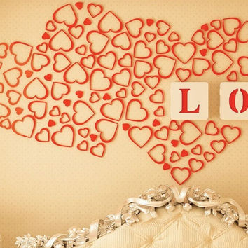 New Heart-shaped 3D Wooden Removable Wall Stickers Creative Fashion Backdrop Sticker